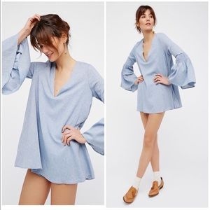 Free People Chambray Mini Bell Sleeve Romper